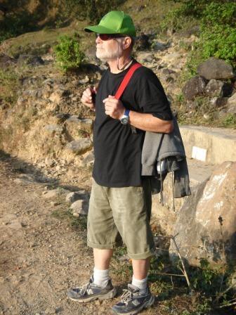 Morning trek meet a tourist