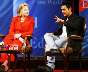Hillary and Aamir in Mumbai